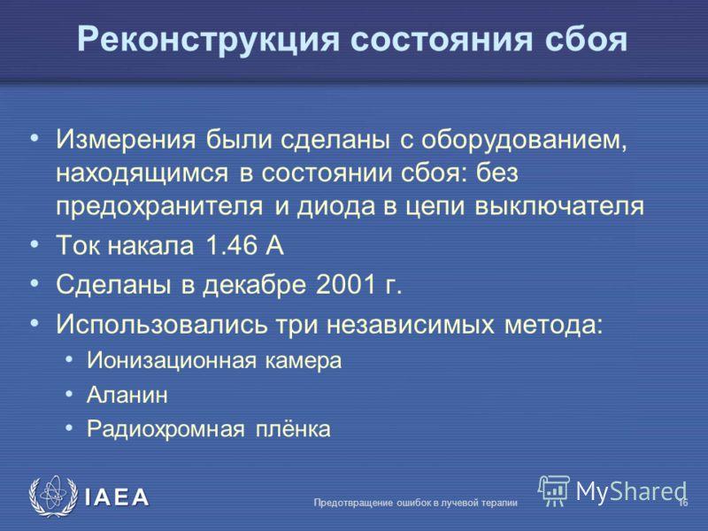 IAEA Предотвращение ошибок в лучевой терапии16 Реконструкция состояния сбоя Измерения были сделаны с оборудованием, находящимся в состоянии сбоя: без предохранителя и диода в цепи выключателя Ток накала 1.46 A Сделаны в декабре 2001 г. Использовались