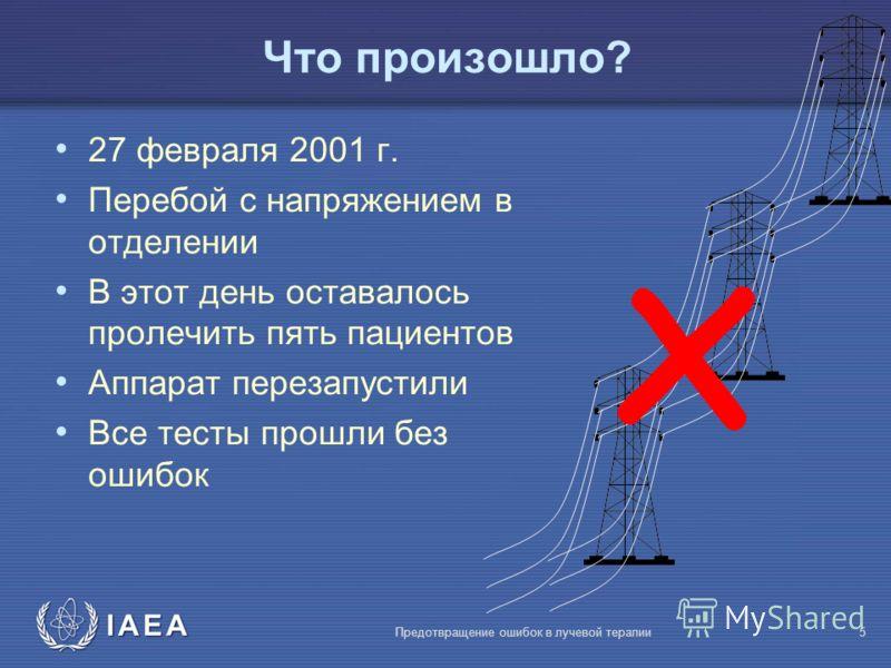 IAEA Предотвращение ошибок в лучевой терапии5 Что произошло? 27 февраля 2001 г. Перебой с напряжением в отделении В этот день оставалось пролечить пять пациентов Аппарат перезапустили Все тесты прошли без ошибок x