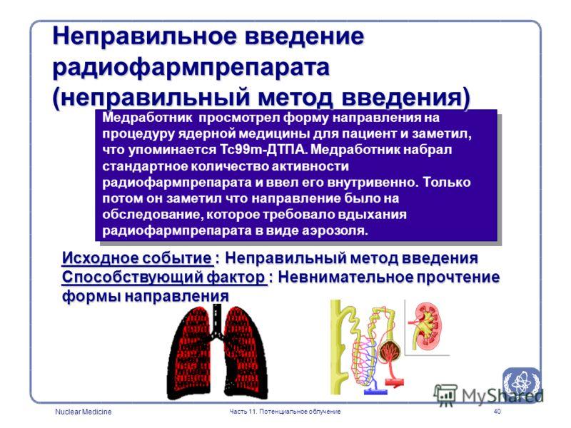 Nuclear Medicine Часть 11. Потенциальное облучение39 Неправильное введение радиофармпрепарата (неправильный радиофармпрепарат) Медработник ввел пациенту радиофармпрепарат, который был обозначен как препарат, используемый для сканирования костей скеле