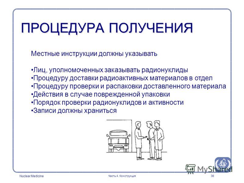 Nuclear Medicine Часть 4. Конструкция36 Местные инструкции должны указывать Лиц, уполномоченных заказывать радионуклиды Процедуру доставки радиоактивных материалов в отдел Процедуру проверки и распаковки доставленного материала Действия в случае повр