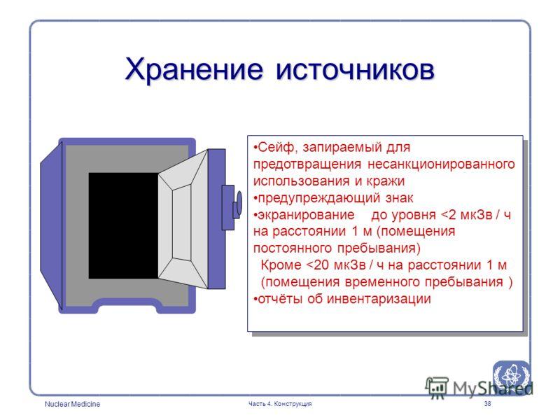 Nuclear Medicine Часть 4. Конструкция38 Сейф, запираемый для предотвращения несанкционированного использования и кражи предупреждающий знак экранирование до уровня