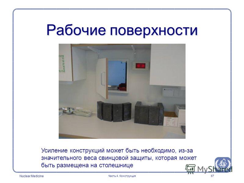 Nuclear Medicine Часть 4. Конструкция67 Рабочие поверхности Усиление конструкций может быть необходимо, из-за значительного веса свинцовой защиты, которая может быть размещена на столешнице