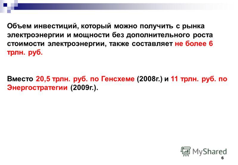 6 Объем инвестиций, который можно получить с рынка электроэнергии и мощности без дополнительного роста стоимости электроэнергии, также составляет не более 6 трлн. руб. Вместо 20,5 трлн. руб. по Генсхеме (2008г.) и 11 трлн. руб. по Энергостратегии (20