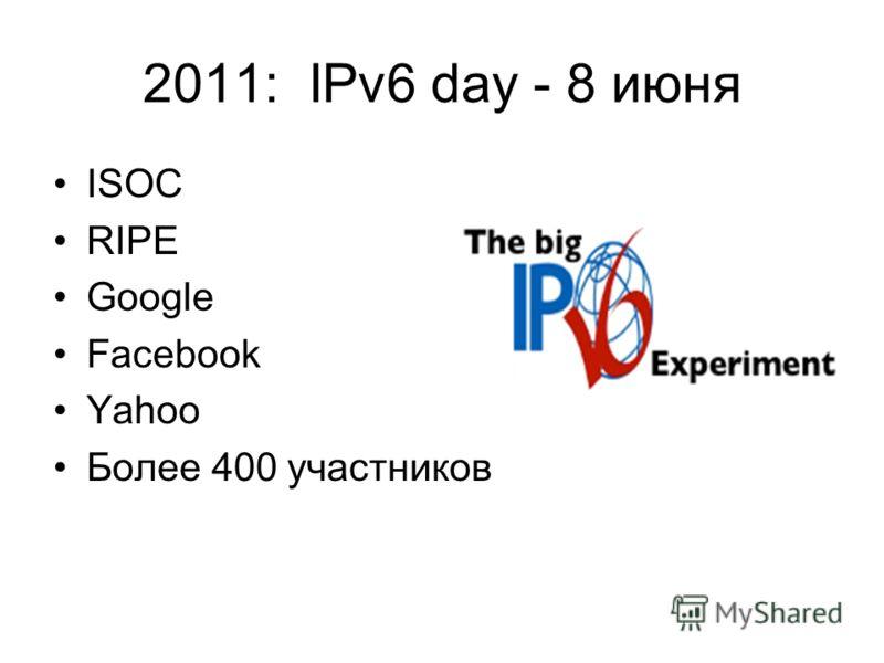 2011: IPv6 day - 8 июня ISOC RIPE Google Facebook Yahoo Более 400 участников