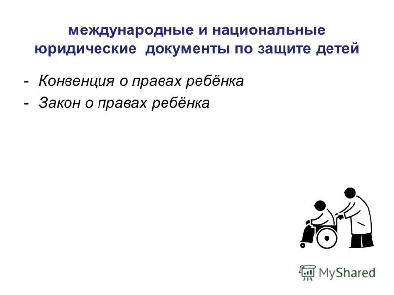 международные и национальные юридические документы по защите детей -Конвенция о правах ребёнка -Закон о правах ребёнка