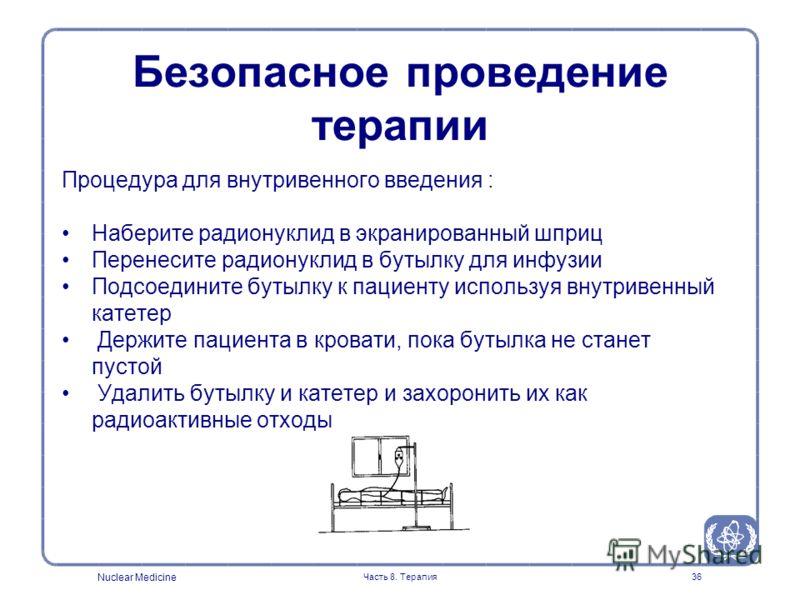 Nuclear Medicine Часть 8. Терапия36 Процедура для внутривенного введения : Наберите радионуклид в экранированный шприц Перенесите радионуклид в бутылку для инфузии Подсоедините бутылку к пациенту используя внутривенный катетер Держите пациента в кров