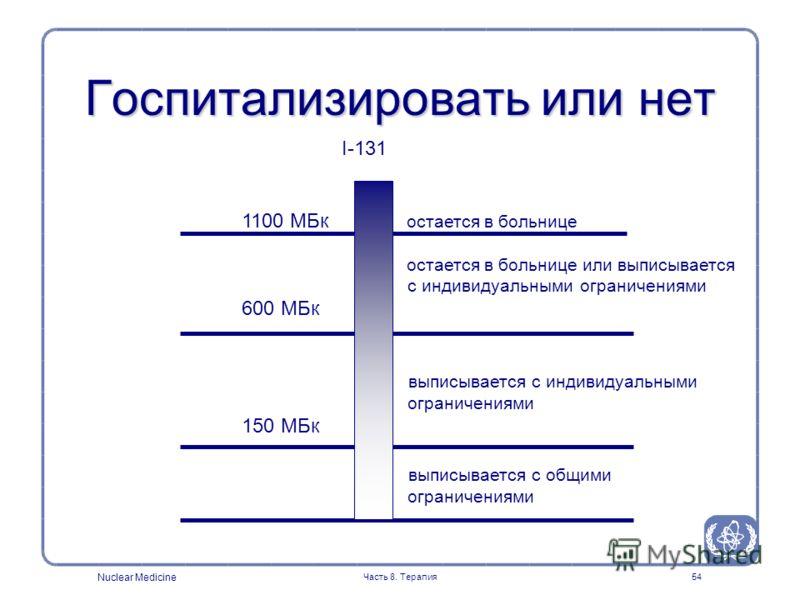 Nuclear Medicine Часть 8. Терапия54 Госпитализировать или нет I-131 1100 МБк остается в больнице остается в больнице или выписывается с индивидуальными ограничениями 600 МБк выписывается с индивидуальными ограничениями 150 МБк выписывается с общими о