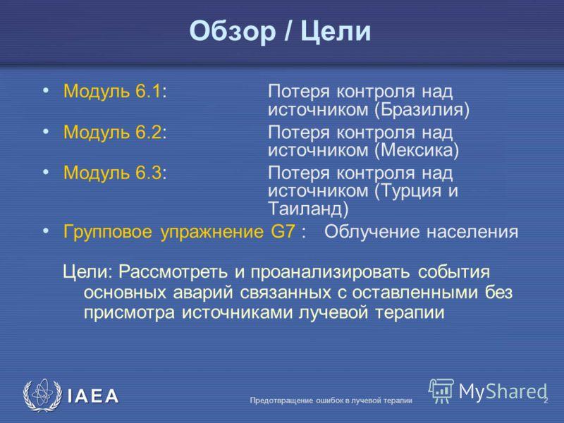 IAEA Предотвращение ошибок в лучевой терапии2 Mодуль 6.1: Потеря контроля над источником (Бразилия) Mодуль 6.2: Потеря контроля над источником (Mексика) Mодуль 6.3: Потеря контроля над источником (Турция и Таиланд) Групповое упражнение G7 : Облучение