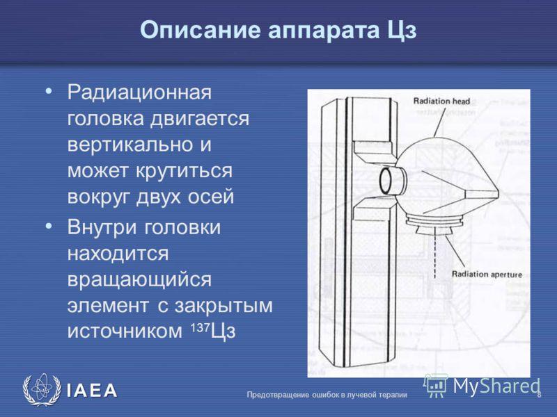 IAEA Предотвращение ошибок в лучевой терапии8 Радиационная головка двигается вертикально и может крутиться вокруг двух осей Внутри головки находится вращающийся элемент с закрытым источником 137 Цз Описание аппарата Цз