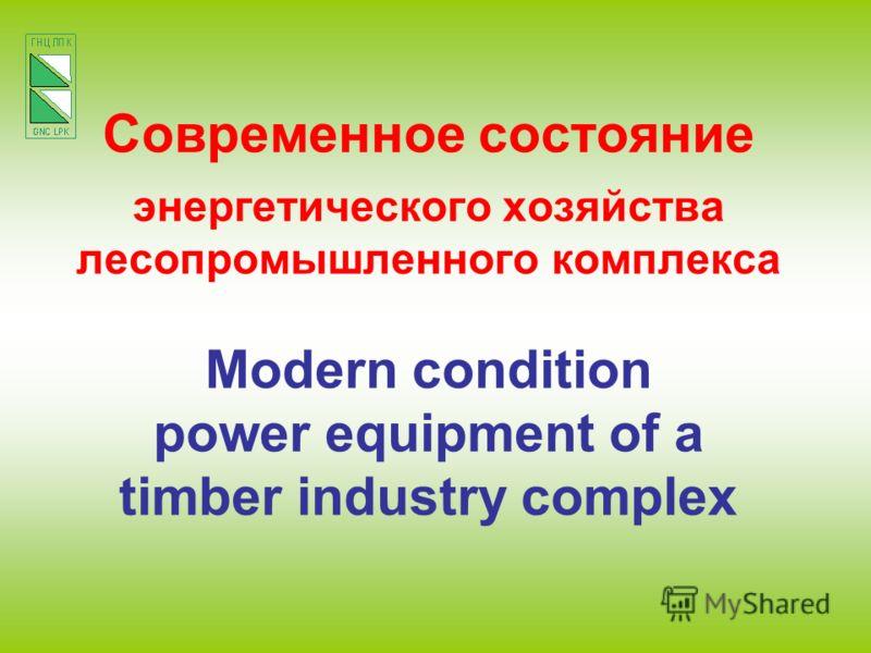 Современное состояние энергетического хозяйства лесопромышленного комплекса Modern condition power equipment of a timber industry complex