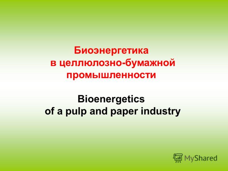 Биоэнергетика в целлюлозно-бумажной промышленности Bioenergetics of a pulp and paper industry