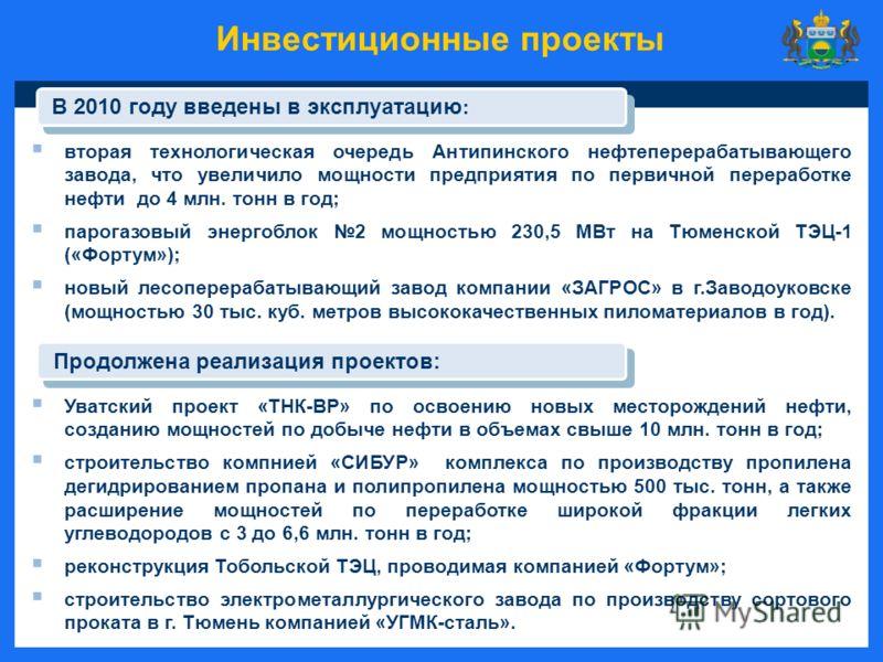 Инвестиционные проекты вторая технологическая очередь Антипинского нефтеперерабатывающего завода, что увеличило мощности предприятия по первичной переработке нефти до 4 млн. тонн в год; парогазовый энергоблок 2 мощностью 230,5 МВт на Тюменской ТЭЦ-1