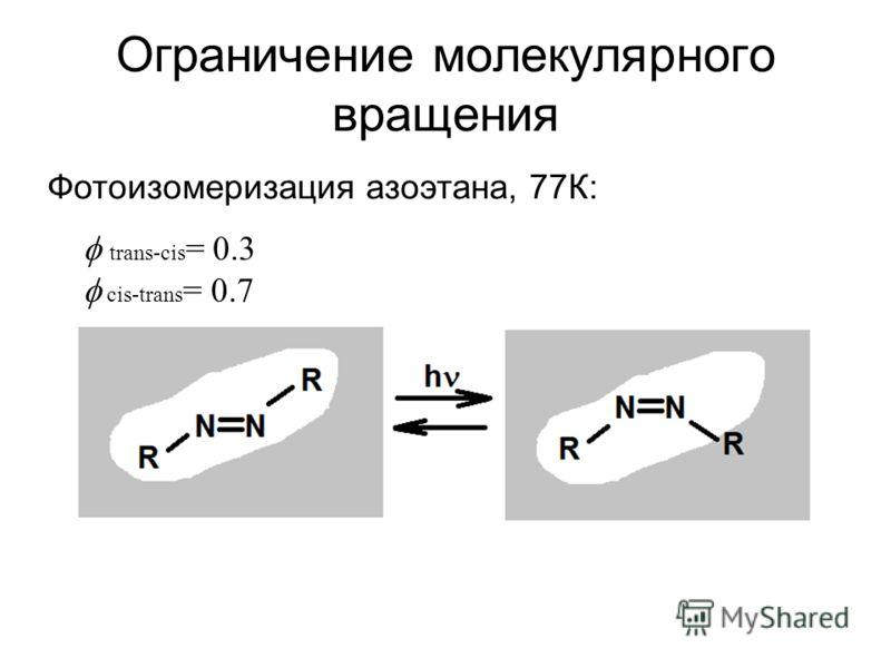 Ограничение молекулярного вращения trans-cis = 0.3 cis-trans = 0.7 Фотоизомеризация азоэтана, 77К: