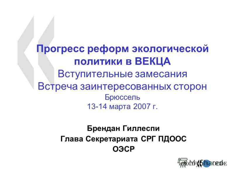 1 Прогресс реформ экологической политики в ВЕКЦА Вступительные замесания Встреча заинтересованных сторон Брюссель 13-14 марта 2007 г. Брендан Гиллеспи Глава Секретариата СРГ ПДООС ОЭСР