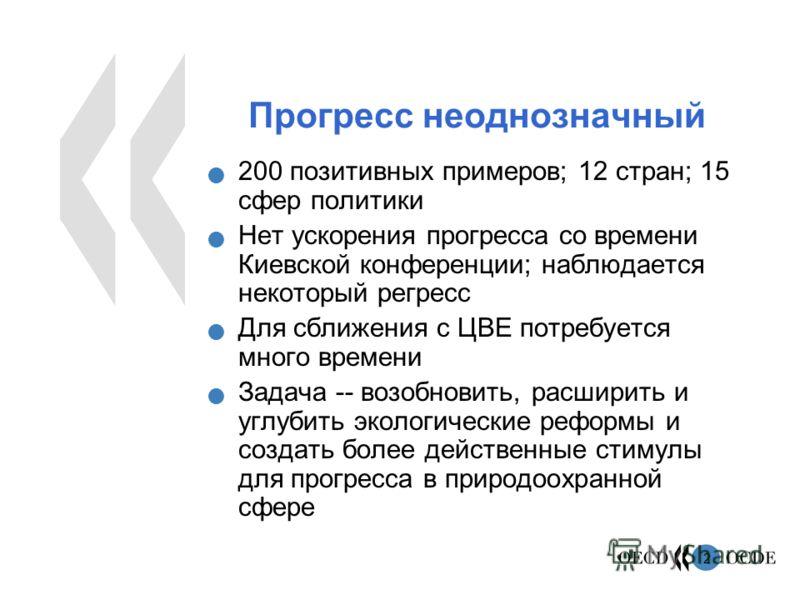 2 Прогресс неоднозначный 200 позитивных примеров; 12 стран; 15 сфер политики Нет ускорения прогресса со времени Киевской конференции; наблюдается некоторый регресс Для сближения с ЦВЕ потребуется много времени Задача -- возобновить, расширить и углуб