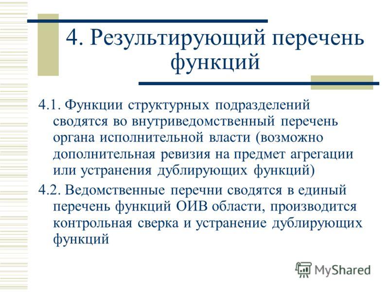 4. Результирующий перечень функций 4.1. Функции структурных подразделений сводятся во внутриведомственный перечень органа исполнительной власти (возможно дополнительная ревизия на предмет агрегации или устранения дублирующих функций) 4.2. Ведомственн