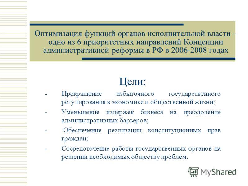 Оптимизация функций органов исполнительной власти – одно из 6 приоритетных направлений Концепции административной реформы в РФ в 2006-2008 годах Цели: - Прекращение избыточного государственного регулирования в экономике и общественной жизни; -Уменьше