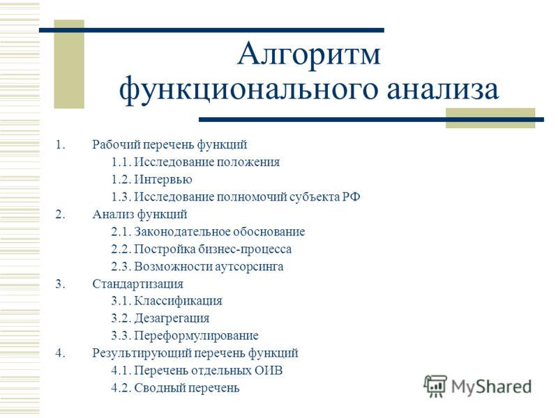Алгоритм функционального анализа 1.Рабочий перечень функций 1.1. Исследование положения 1.2. Интервью 1.3. Исследование полномочий субъекта РФ 2. Анализ функций 2.1. Законодательное обоснование 2.2. Постройка бизнес-процесса 2.3. Возможности аутсорси