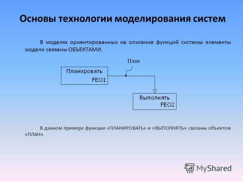 Основы технологии моделирования систем В моделях ориентированных на описание функций системы элементы модели связаны ОБЪЕКТАМИ. В данном примере функции «ПЛАНИРОВАТЬ» и «ВЫПОЛНЯТЬ» связаны объектом «ПЛАН».