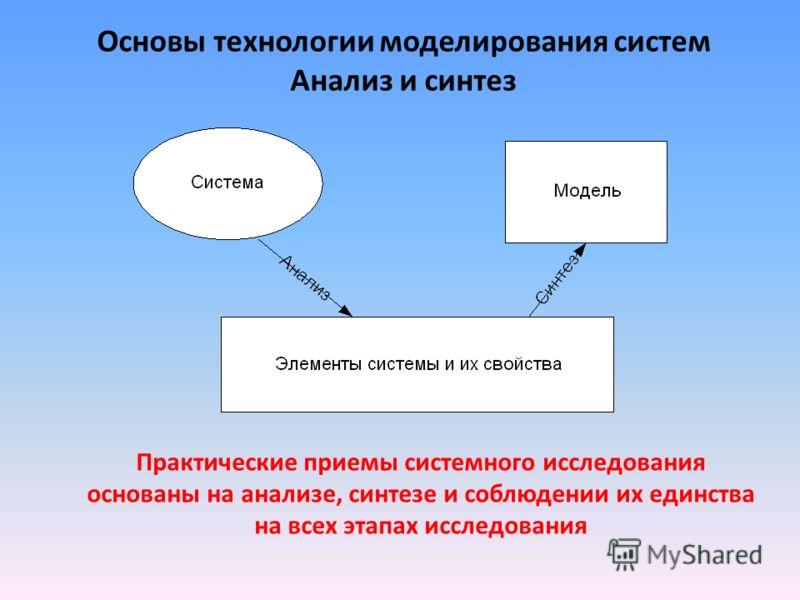 Основы технологии моделирования систем Анализ и синтез Практические приемы системного исследования основаны на анализе, синтезе и соблюдении их единства на всех этапах исследования