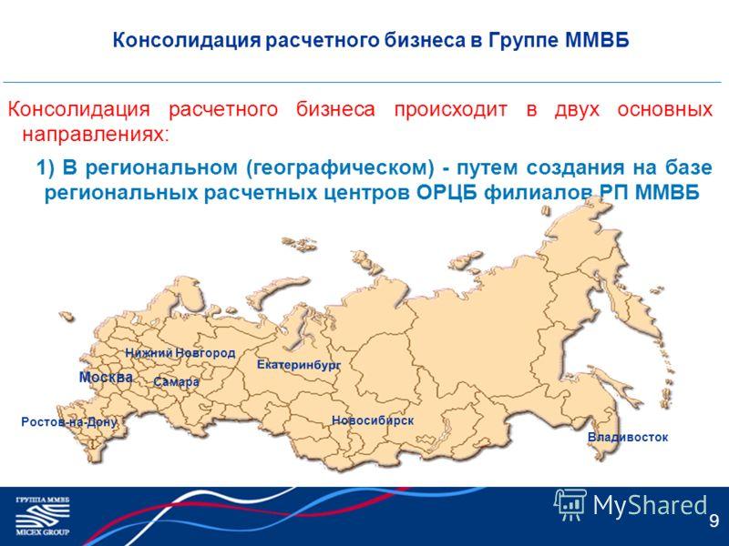 9 Консолидация расчетного бизнеса в Группе ММВБ Консолидация расчетного бизнеса происходит в двух основных направлениях: 1) В региональном (географическом) - путем создания на базе региональных расчетных центров ОРЦБ филиалов РП ММВБ Владивосток Ново