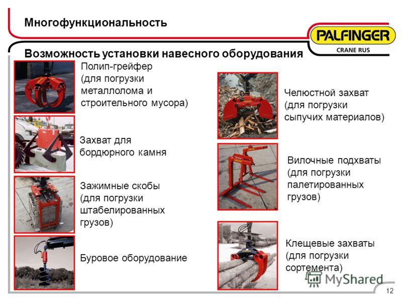 Многофункциональность Возможность установки навесного оборудования 12 Полип-грейфер (для погрузки металлолома и строительного мусора) Челюстной захват (для погрузки сыпучих материалов) Клещевые захваты (для погрузки сортемента) Буровое оборудование В
