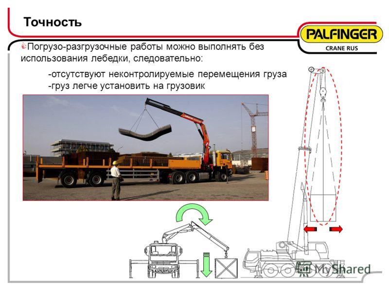 Точность Погрузо-разгрузочные работы можно выполнять без использования лебедки, следовательно: -отсутствуют неконтролируемые перемещения груза -груз легче установить на грузовик