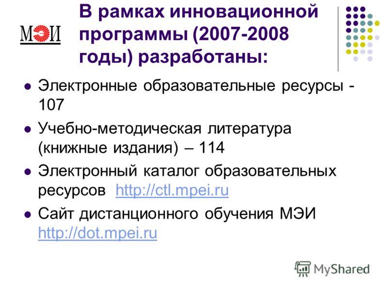 3 В рамках инновационной программы (2007-2008 годы) разработаны: Электронные образовательные ресурсы - 107 Учебно-методическая литература (книжные издания) – 114 Электронный каталог образовательных ресурсов http://ctl.mpei.ruhttp://ctl.mpei.ru Сайт д
