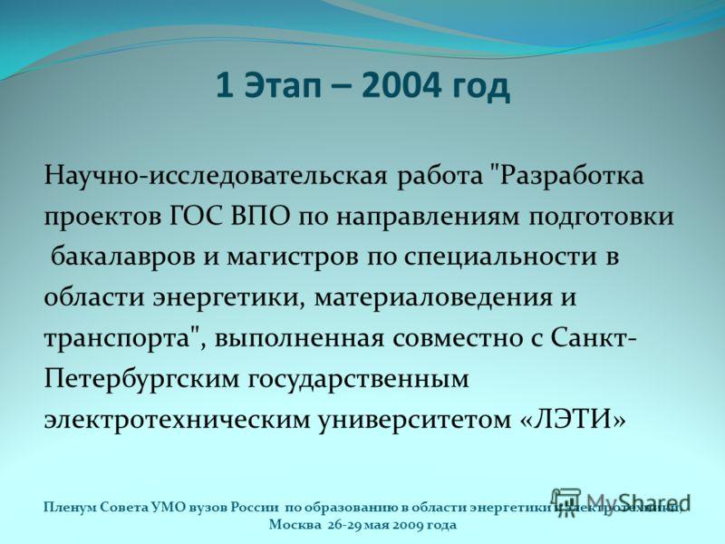 1 Этап – 2004 год Научно-исследовательская работа