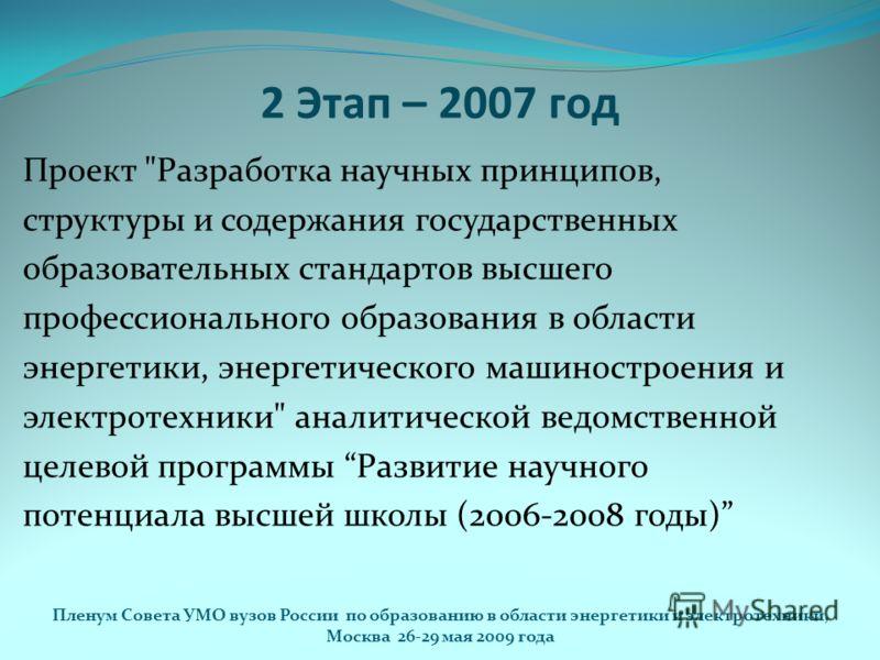 2 Этап – 2007 год Проект