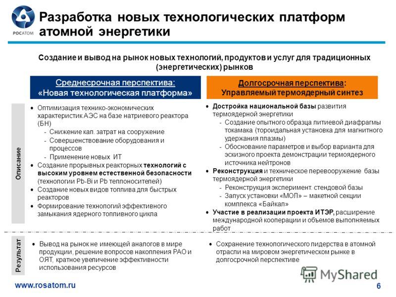 www.rosatom.ru 6 Разработка новых технологических платформ атомной энергетики Среднесрочная перспектива: «Новая технологическая платформа» Долгосрочная перспектива: Управляемый термоядерный синтез Создание и вывод на рынок новых технологий, продуктов