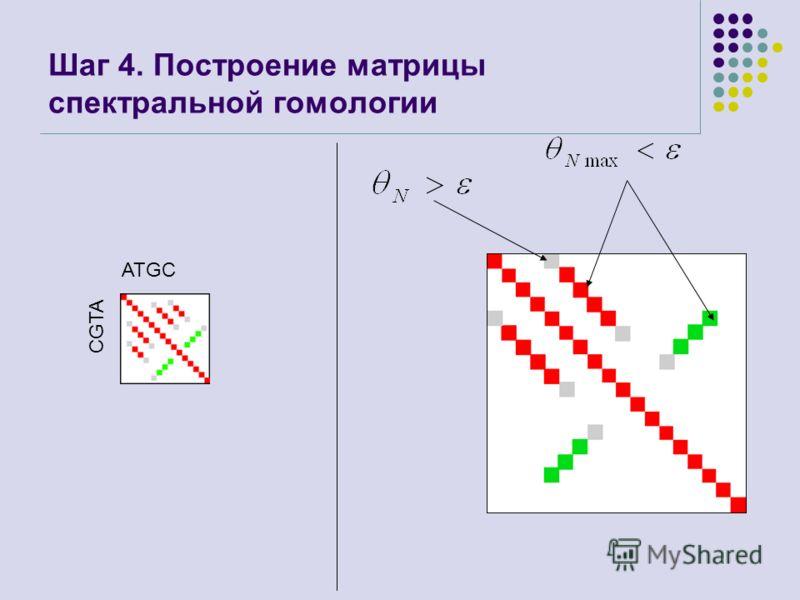 Шаг 4. Построение матрицы спектральной гомологии ATGC CGTA
