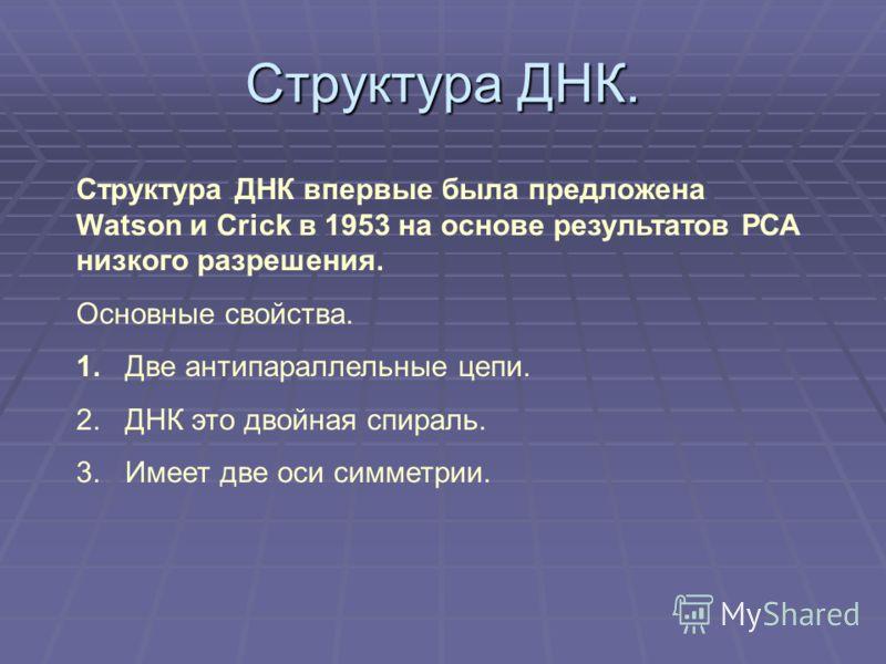 Структура ДНК впервые была предложена Watson и Crick в 1953 на основе результатов РСА низкого разрешения. Основные свойства. 1. Две антипараллельные цепи. 2. ДНК это двойная спираль. 3. Имеет две оси симметрии.