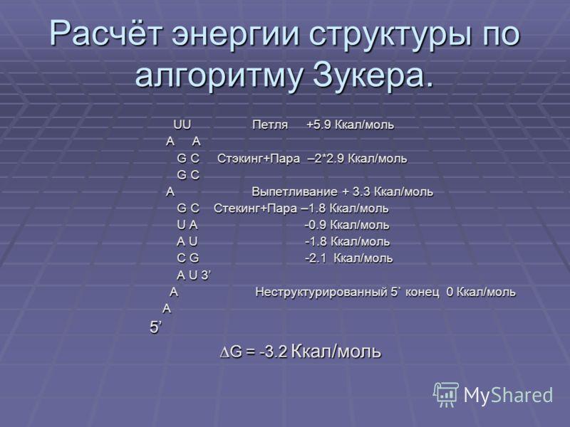 Расчёт энергии структуры по алгоритму Зукера. UU Петля +5.9 Ккал/моль UU Петля +5.9 Ккал/моль A A A A G C Стэкинг+Пара –2*2.9 Ккал/моль G C Стэкинг+Пара –2*2.9 Ккал/моль G C G C A Выпетливание + 3.3 Ккал/моль A Выпетливание + 3.3 Ккал/моль G C Стекин