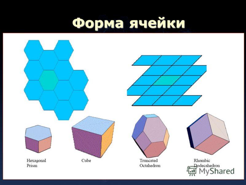 Форма ячейки двенадцатигранник и усечённый восьмигранник
