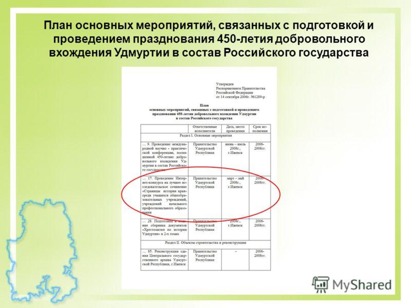 План основных мероприятий, связанных с подготовкой и проведением празднования 450-летия добровольного вхождения Удмуртии в состав Российского государства