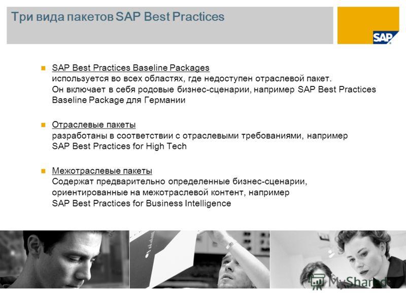 Три вида пакетов SAP Best Practices SAP Best Practices Baseline Packages используется во всех областях, где недоступен отраслевой пакет. Он включает в себя родовые бизнес-сценарии, например SAP Best Practices Baseline Package для Германии Отраслевые