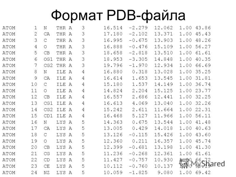 Формат PDB-файла ATOM 1 N THR A 3 16.514 -2.279 12.062 1.00 43.86 N ATOM 2 CA THR A 3 17.180 -2.102 13.371 1.00 45.43 C ATOM 3 C THR A 3 16.995 -0.675 13.903 1.00 48.26 C ATOM 4 O THR A 3 16.888 -0.476 15.109 1.00 56.27 O ATOM 5 CB THR A 3 18.658 -2.