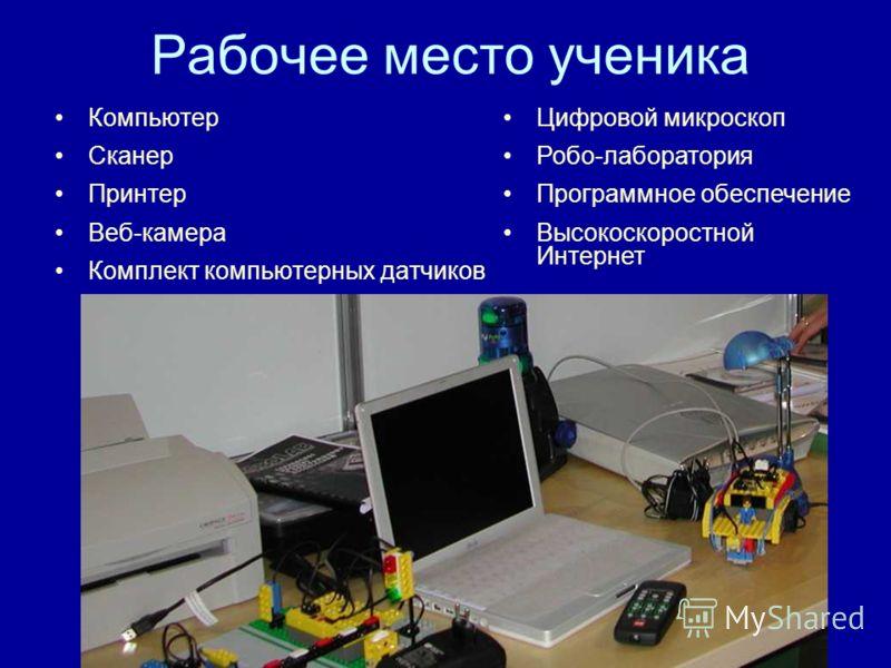 Рабочее место ученика Компьютер Сканер Принтер Веб-камера Комплект компьютерных датчиков Цифровой микроскоп Робо-лаборатория Программное обеспечение Высокоскоростной Интернет