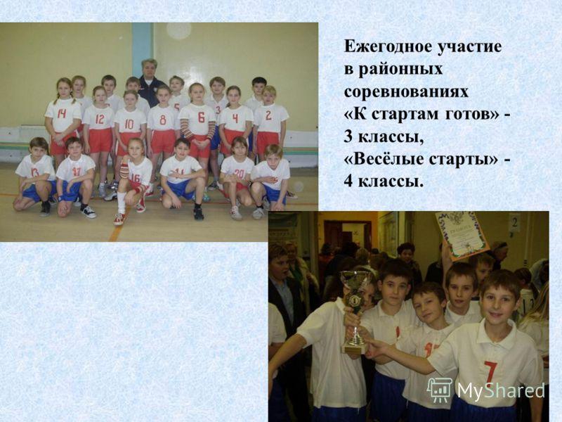 Ежегодное участие в районных соревнованиях «К стартам готов» - 3 классы, «Весёлые старты» - 4 классы.