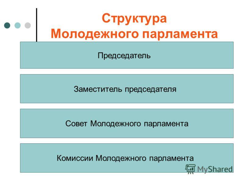 Структура Молодежного парламента Председатель Совет Молодежного парламента Комиссии Молодежного парламента Заместитель председателя
