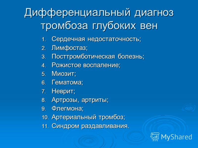 Дифференциальный диагноз тромбоза глубоких вен 1. Сердечная недостаточность; 2. Лимфостаз; 3. Посттромботическая болезнь; 4. Рожистое воспаление; 5. Миозит; 6. Гематома; 7. Неврит; 8. Артрозы, артриты; 9. Флегмона; 10. Артериальный тромбоз; 11. Синдр