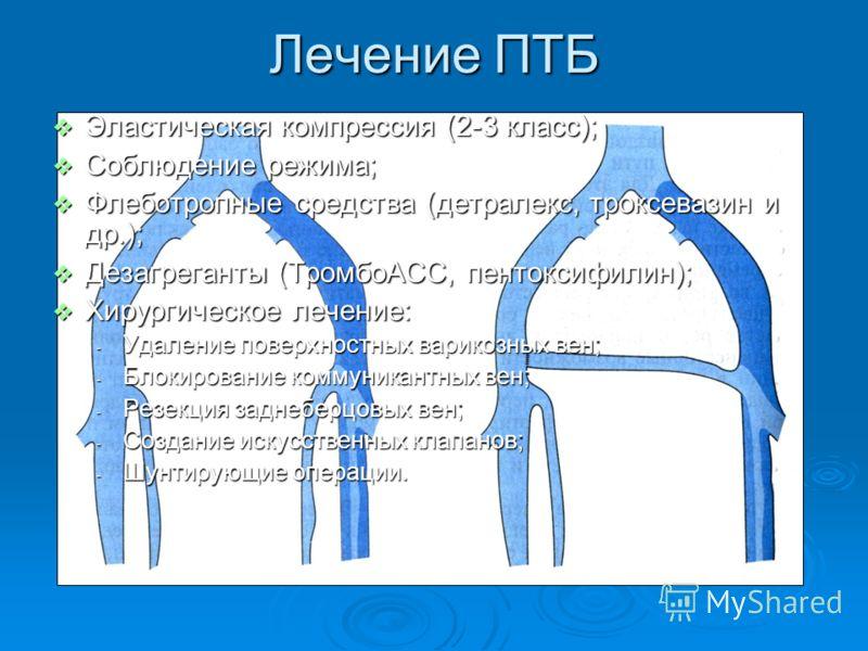 Лечение ПТБ Эластическая компрессия (2-3 класс); Эластическая компрессия (2-3 класс); Соблюдение режима; Соблюдение режима; Флеботропные средства (детралекс, троксевазин и др.); Флеботропные средства (детралекс, троксевазин и др.); Дезагреганты (Тром