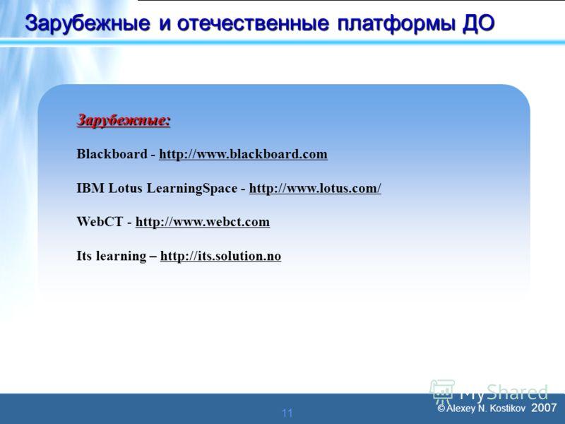 © Alexey N. Kostikov 2007 11 Зарубежные и отечественные платформы ДО Зарубежные: Blackboard - http://www.blackboard.comhttp://www.blackboard.com IBM Lotus LearningSpace - http://www.lotus.com/http://www.lotus.com/ WebCT - http://www.webct.comhttp://w