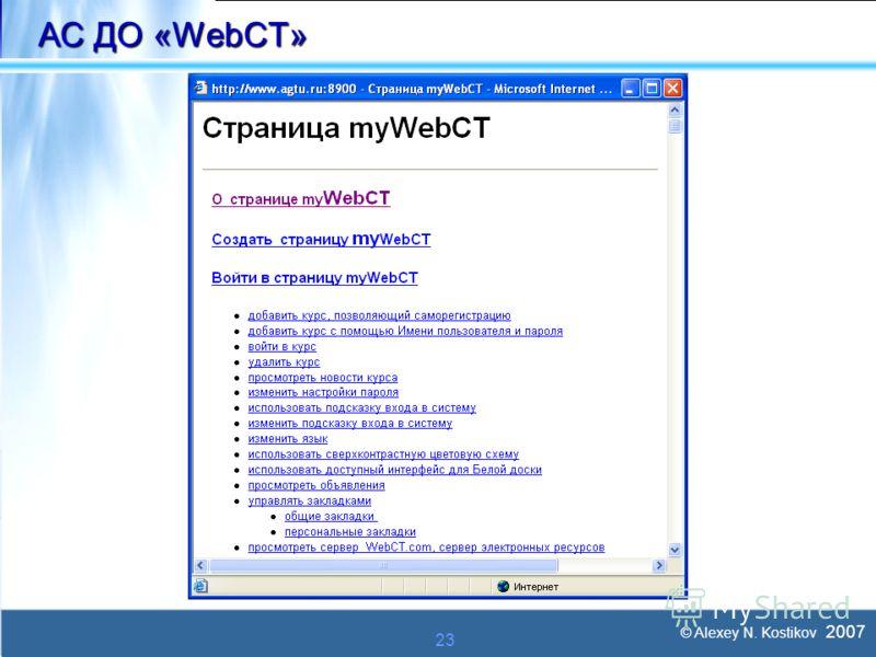 © Alexey N. Kostikov 2007 23 АС ДО «WebCT»