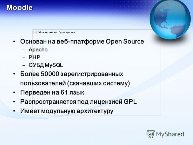 Moodle Основан на веб-платформе Open Source –Apache –PHP –СУБД MySQL Более 50000 зарегистрированных пользователей (скачавших систему) Перведен на 61 язык Распространяется под лицензией GPL Имеет модульную архитектуру