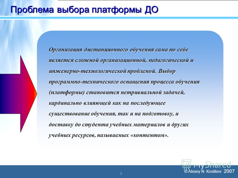 © Alexey N. Kostikov 2007 4 Проблема выбора платформы ДО Организация дистанционного обучения сама по себе является сложной организационной, педагогической и инженерно-технологической проблемой. Выбор программно-технического оснащения процесса обучени