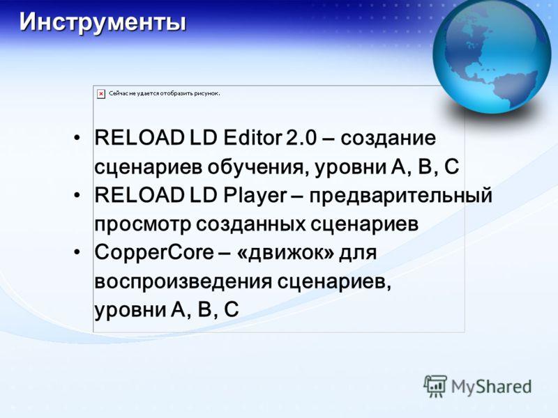 Инструменты RELOAD LD Editor 2.0 – создание сценариев обучения, уровни А, В, С RELOAD LD Player – предварительный просмотр созданных сценариев CopperCore – «движок» для воспроизведения сценариев, уровни А, В, С