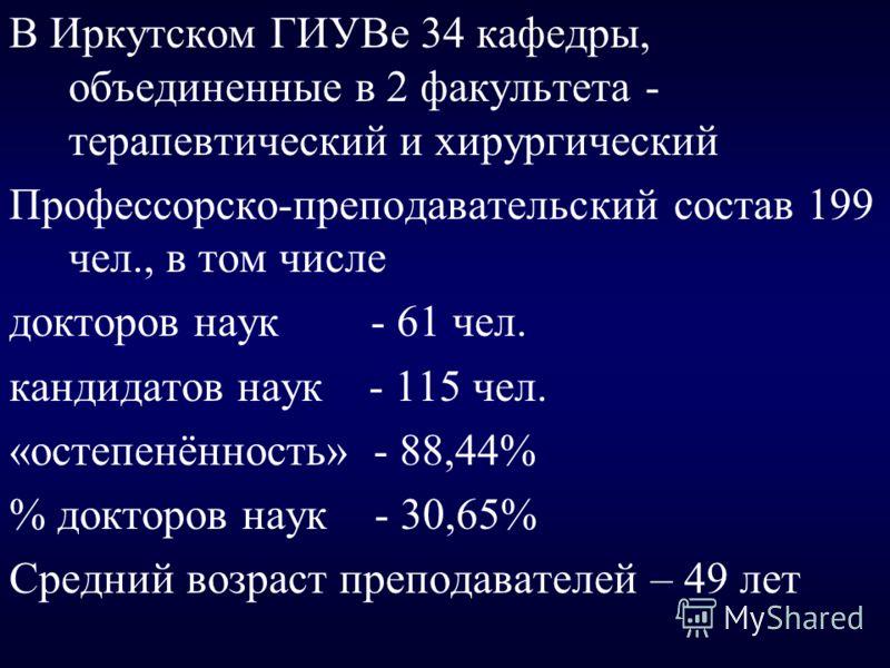 В Иркутском ГИУВе 34 кафедры, объединенные в 2 факультета - терапевтический и хирургический Профессорско-преподавательский состав 199 чел., в том числе докторов наук - 61 чел. кандидатов наук - 115 чел. «остепенённость» - 88,44% % докторов наук - 30,