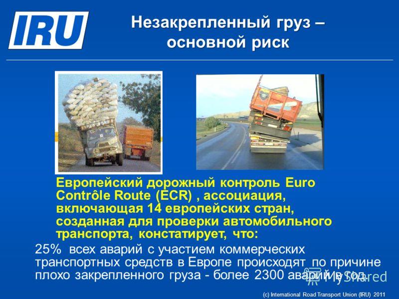 Незакрепленный груз – основной риск 25% всех аварий с участием коммерческих транспортных средств в Европе происходят по причине плохо закрепленного груза - более 2300 аварий в год. Европейский дорожный контроль Euro Contrôle Route (ECR), ассоциация,
